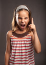 Little girl quarreling portrait of Royalty Free Stock Images