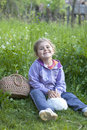 Little girl with rabbit 2 Stock Photo