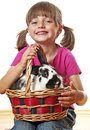 Little girl and rabbit in a basket Stock Photo