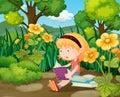Little girl reading books in flower garden Royalty Free Stock Photo