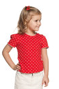 Little girl in red blouse portrait of a the on the white background Stock Photography