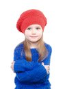 Little girl in a red cap smiles isolation on white Stock Photography