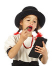 Little girl with red lipstick Stock Photos