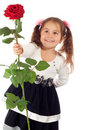 Little girl with red rose Stock Photography