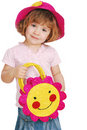 Little girl with red straw hat and bag Stock Photography