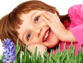 Little girl resting in the spring garden Stock Photo