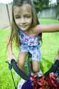 Little girl riding bike Royalty Free Stock Photo