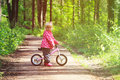 Little girl riding bike in summer forest Royalty Free Stock Photo