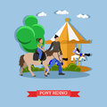 Little girl riding pony with instructor in amusement park, vector Royalty Free Stock Photo