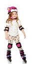 Little girl roller-skates. Royalty Free Stock Photo