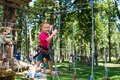 Little girl  in a rope park Royalty Free Stock Photo