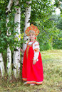 Little girl in Russian national a sundress Royalty Free Stock Photo