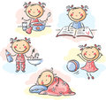 Little girl s daily activities cartoon Royalty Free Stock Photo
