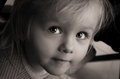 Little girl sad serious eyes closeup caucasian look Stock Photos