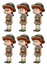 Little girl in safari outfit with different emotions