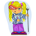 Little girl sailor fishing. cartoon sum Stock Image