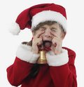 Little girl Santa Claus crying Stock Image