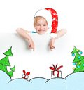 Little girl in the santa claus hat cute Stock Photography