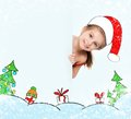 Little girl in the santa claus hat happy Royalty Free Stock Photos
