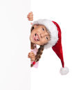 Little girl in Santa hat Royalty Free Stock Photography