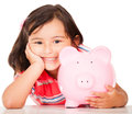 Little girl saving money Royalty Free Stock Photo