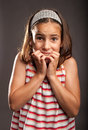 Little girl scared portrait of Royalty Free Stock Photos