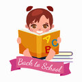 Little girl with school books and notebooks learning smile, back to concept
