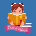 Little girl with school books and notebooks learning with smile, back to school concept