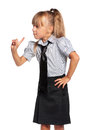 Little girl in school uniform portrait of emotional isolated on white background Stock Photo