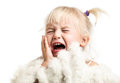 Little girl screaming over white isolated background Stock Images