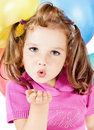 Little girl sends kiss Royalty Free Stock Image
