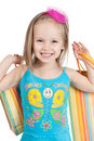 Little girl with shopping bags Royalty Free Stock Images