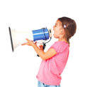 Little girl shouting through megaphone Stock Photography