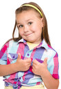 Little girl is showing thumb up gesture dressed in blue using both hands isolated over white Royalty Free Stock Photography