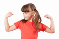 Little girl shows us their biceps Stock Images