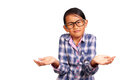 Little girl with shrug gesture glasses performing or i don t know isolated on white Stock Photo