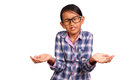 Little girl with shrug gesture glasses performing or i don t know isolated on white Royalty Free Stock Photos