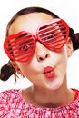 Little girl with shutter shades Royalty Free Stock Photography