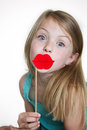 Little girl in silly disguise a lips Royalty Free Stock Images