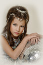 Little girl in a silver dress Royalty Free Stock Images