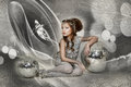 Little girl in a silver dress Stock Photos
