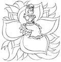"Little girl sits on a flower (""Thumbeli Stock Image"