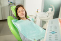 Little girl sitting in the dentists chair