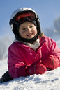Little girl on ski Stock Image