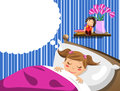 Little girl sleeping and having dreams illustration featuring a cute in bed anything can be inserted into the thought balloon eps Stock Photo