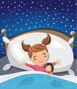 Little girl sleeping and having sweet dreams illustration featuring a cute in bed next to her favourite doll against a starry sky Royalty Free Stock Photos