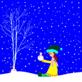 Little girl with small snowman happy girland vector illustration Stock Image