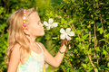 Little girl smelling flower Royalty Free Stock Photo