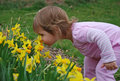 Little girl smelling spring flowers Stock Photos