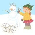 Little girl and snowman.